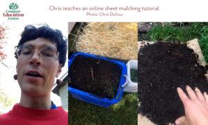 Screenshots of Chris teaching a sheet mulching tutorial